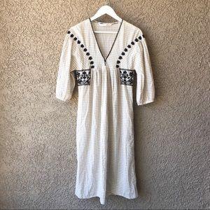 Zara Dresses - Zara 100% Cotton Midi Dress Embroidered Cream M